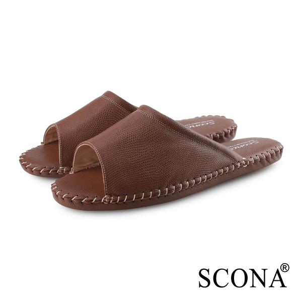 SCONA 蘇格南 全真皮 手縫舒適室內鞋(男) 咖啡紋 9992-2