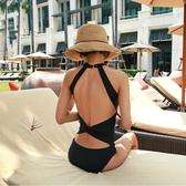 韓國新款比基尼黑色性感連體泳衣女掛脖系帶露背顯瘦小胸聚攏