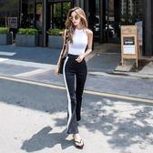 微喇叭褲女韓版高腰長白條紋運動褲    琉璃美衣