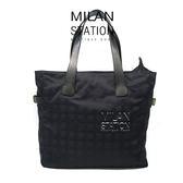 【台中米蘭站】CHANEL 旅行系列黑色緹花布直式雙扣肩背包
