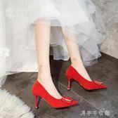 秋季尖頭高跟鞋女細跟中跟絨面紅色方扣單鞋新娘鞋工作鞋 千千女鞋