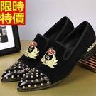 尖頭鞋真皮皮鞋龐克風典雅-個性鉚釘英倫刺繡低跟男鞋子3色65ai2【巴黎精品】