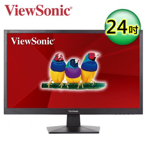 【ViewSonic 優派】24型 HDMI 寬螢幕液晶螢幕 (VA2407h) 【買再送折疊收納購物袋】