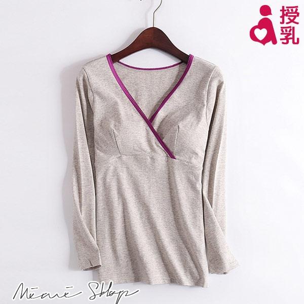 孕婦裝 MIMI別走【P11935】單純美麗 無印交叉式哺乳衣 月子保暖內搭 附乳墊