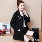 大尺碼外套 女裝胖mm毛呢外套女開衫短款寬鬆顯瘦秋冬新款長袖外套 EY8539『男人範』