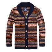【美國熊】英倫時尚 型男氣質 彩條漸層提花 開襟式加厚針織外套 [COLR-91]