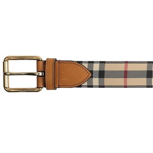BURBERRY經典格紋金屬扣環皮帶(棕褐色)089606-1