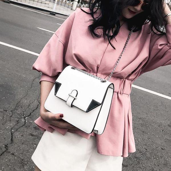 小方包 小包包女春夏新款潮撞色單肩包韓版鍊條百搭斜挎包小方包 唯伊時尚