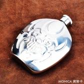 酒壺 創意6盎司不銹鋼個性鬼臉酒壺隨身便攜酒壺戶外酒具送漏斗 莫妮卡小屋