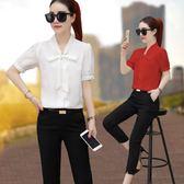 雪紡衫女短袖夏季新款V領燈籠袖上衣韓版寬鬆大碼 JA1543『伊人雅舍』