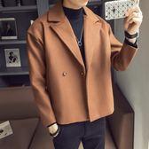 大衣外套 外套男士春秋季新款小風衣短款韓版夾克冬裝休閒毛呢大衣 萬客居