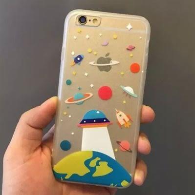 [爆款] 蘋果 iphone 6 / 6s plus 超Cute宇宙卡通蠶絲紋手機保護殼 手機殼 保護殼 殼 軟殼 tpu 包邊 火艦