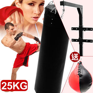 BOXING懸吊式25KG拳擊沙包+壁掛+速度球(拳擊座打擊練習器.懸掛25公斤沙袋.泰拳武術專賣店