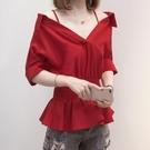 上衣短袖V領襯衣中大尺碼L-4XL新款露肩吊帶襯衫女設計感一字領修身荷葉邊上衣R037-1256.胖胖唯依