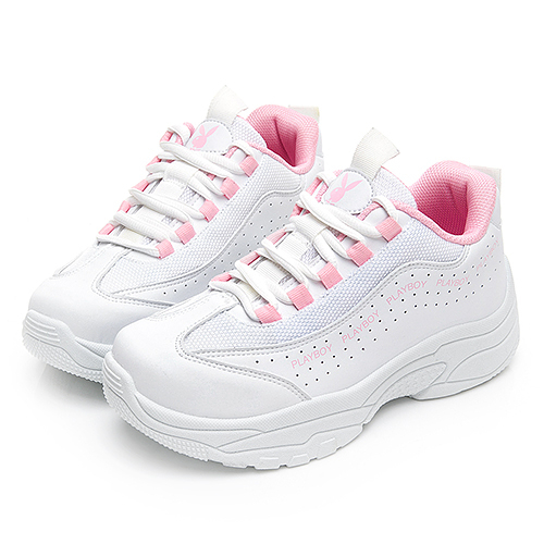 PLAYBOY Vitality流線厚底兔兔老爹鞋-白粉(Y6211)