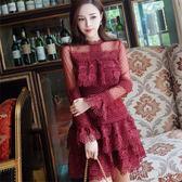 『現貨快出』春款長袖水溶蕾絲性感短裙名媛修身顯瘦蛋糕打底連衣裙禮服女613-759