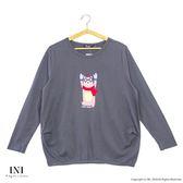 【INI】休閒溫暖、簡單輕鬆好感長袖上衣.鐵灰色