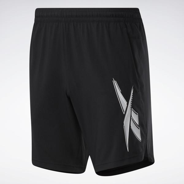REEBOK SPEEDWICK 男裝 短褲 慢跑 訓練 疊影感LOGO 排汗 透氣 黑【運動世界】FU3355