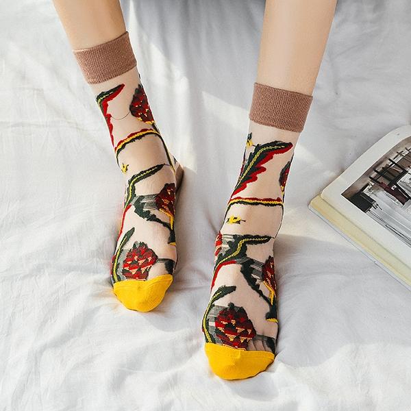 OT SHOP [現貨] 襪子 透膚絲襪 玻璃襪 中筒襪 大地風格刺繡圖案 潮流個性 日韓系穿搭 M1078