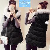 【V0327】shiny藍格子-時尚女伶.百搭顯瘦毛毛連帽A擺馬甲背心外套
