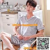 睡衣男夏天絲綢短袖短褲夏季薄款寬鬆寬版加大碼冰絲套裝家居服【happybee】