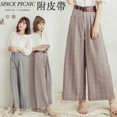 長褲 Space Picnic|高腰格紋腰打褶設計寬褲(現貨)【C18074035】