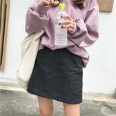 秋裝新款時尚百搭顯瘦A字裙女純色簡約修身高腰休閑半身裙短裙潮