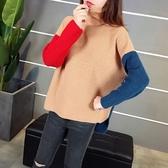 針織衫-高領韓版秋冬時尚拼色女毛衣2色73tp49【巴黎精品】