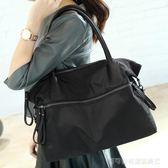 托特包 歐美黑色大包簡約單肩斜背包大容量牛津布包女包休閒包旅行袋