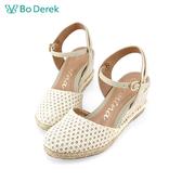 Bo Derek 繞踝楔型包頭涼鞋-米色