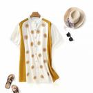 XL長版上衣 拼接撞色印花開釦三色-月兒的綺麗莊園