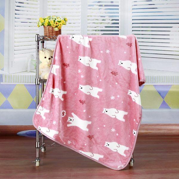 Qmishop 保暖懶人毯小毯子北極熊珊瑚絨100*72CM【J2472】