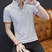 型男時尚休閒短袖T恤 立領純棉短袖POLO衫 灰《P1037 》