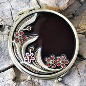 小鏡子 紅月復古歐式小鏡子雙面可愛隨身便攜創意折疊化妝鏡梳妝鏡交換禮物 七夕情人節
