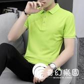 POLO衫-夏季男士純色絲光冰絲短袖T恤 休閑翻領體恤POLO衫大碼半袖汗衫潮-奇幻樂園