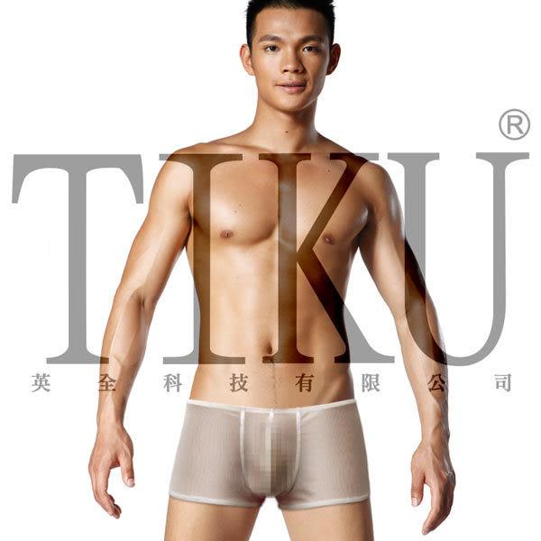 TIKU 梯酷 ~ 猛男呼吸款 全透明網料性感平口男內褲-白色(WN1767)
