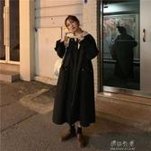 秋冬新款寬鬆過膝長款復古港風設計感拼接網紅長袖風衣外套女 伊莎公主