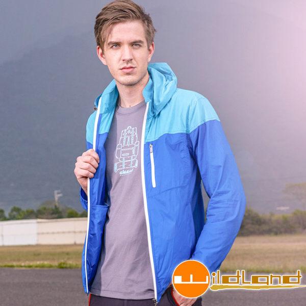 Wildland 荒野 0A31992-77中藍色 男RE彈性抗UV透氣輕薄外套