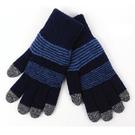 雙層保暖觸控手套 男款 簡約條紋藍 保暖...