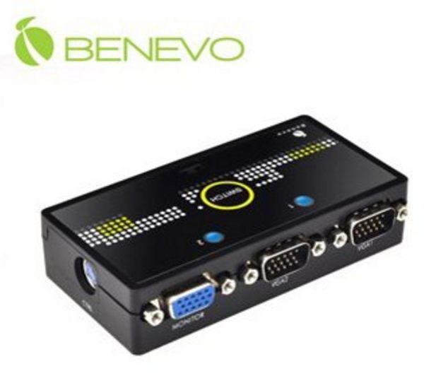 新竹【超人3C】BENEVO 磁吸型 2埠VGA螢幕切換器 BVS201 自動與按鍵切換 內建自動掃描功能