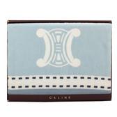 CELINE經典皇家BLASON LOGO純棉毛蓋毯禮盒(粉藍)084106-1