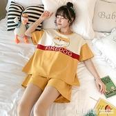 韓版睡衣女夏季短袖純棉甜美可愛卡通柴犬可外穿套裝寬鬆家居服春