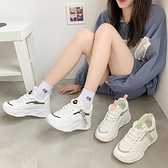 增高鞋 內增高小白鞋女鞋秋季新款百搭厚底學生老爹鞋-Ballet朵朵