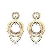 耳環 玫瑰金 925純銀鑲鑽-多面圓環情人節生日禮物女飾品2色73gs150【時尚巴黎】