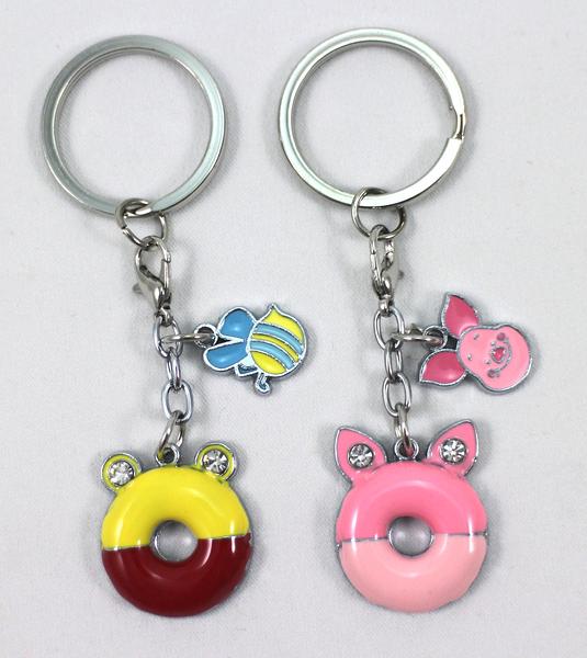 【卡漫城】 維尼熊 甜甜圈 鑰匙圈 二入一組 ㊣版 Winnie Pooh 小熊維尼 扣環 吊飾 小豬 Piglet