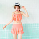 OrangeBear《VC0020》繞頸後綁帶荷葉褲裙比基尼‧2色--適 S~L