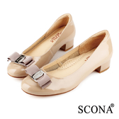 SCONA 全真皮 經典蝴蝶結低跟鞋 可可色 22338-2