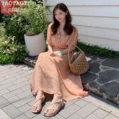 洋裝 復古碎花韓版中長款雪紡連身裙 超值價