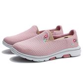 SKECHERS 休閒鞋 GO WAILK 5 白底 粉 刺繡花卉 輕量 女 (布魯克林) 124002WPNK
