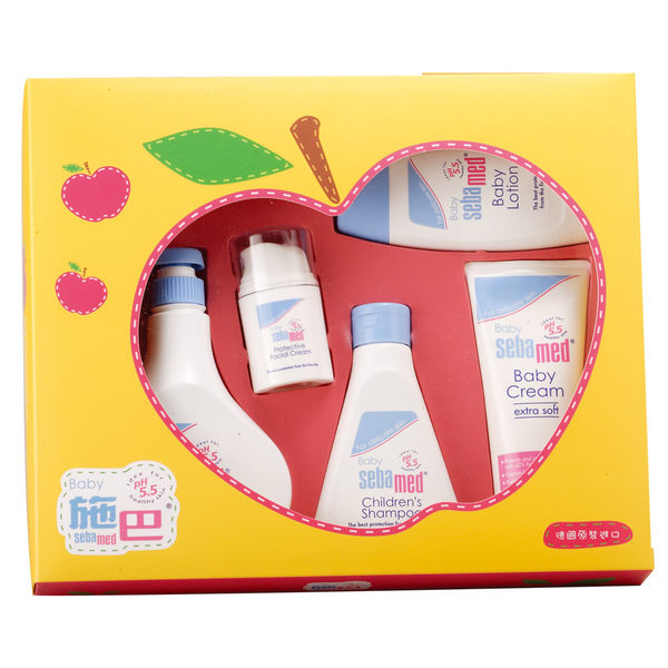 施巴【嬰兒蘋果大五件禮盒】贈嬰兒蘆薈B5柔濕巾